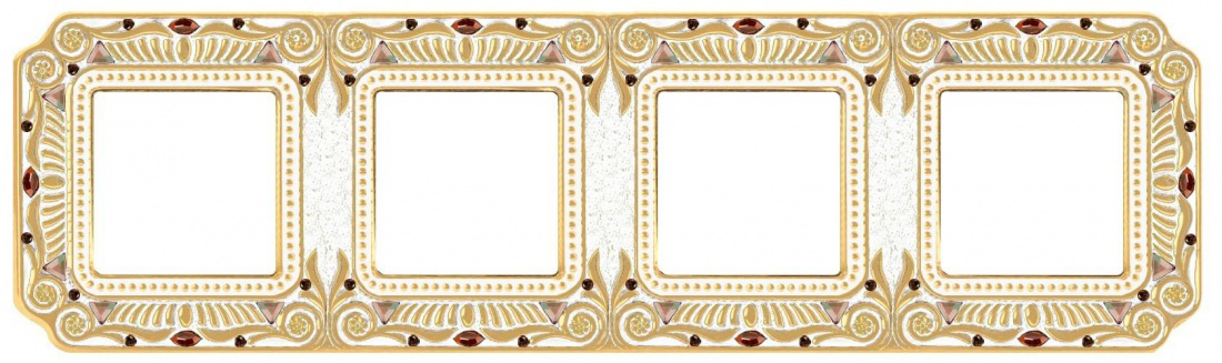 Рамка четверная Fede Palace gold white patine FD01364OPCL